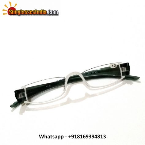 Designer White Reading Glasses Power 100