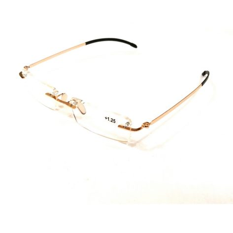 Premium Gold Rimless Reading Glasses